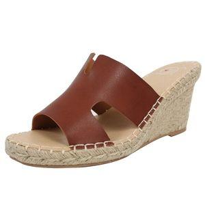 Shoes - Tan Open Toe Cutout Espadrille Wedge